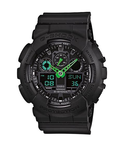 g shock black list green g shock ga100c 1a3 black neon green digital chronograph