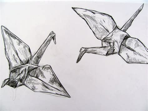 Origami Crane Drawing - portfolio drawings thatcher