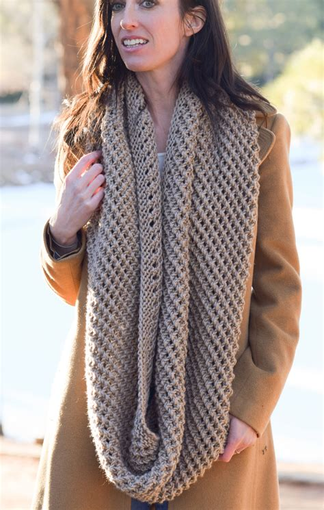 big knit scarf pattern the traveler knit infinicowl scarf pattern in a stitch