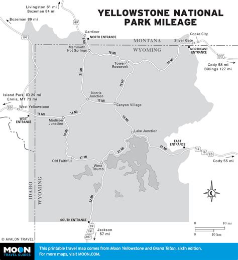 map of yellowstone park printable maps of wyoming incl yellowstone grand teton