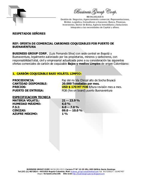 carta de venta u oferta oferta de carbones coquzables para la venta