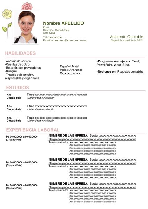 curriculum vitae 2016 download formato word curriculum vitae para descargar en word ejemplos y