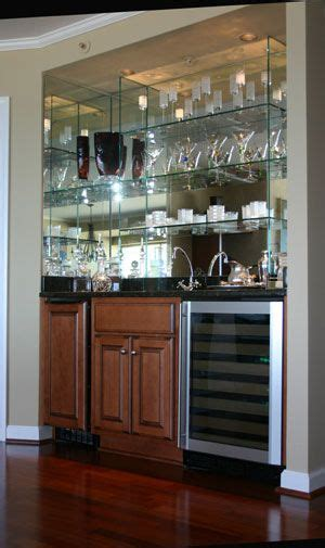 turn closet into custom mirror and glass bar interiors