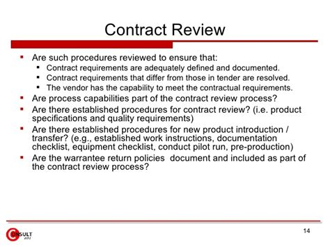 Vendor Audits Manufacturing Contract Review Template