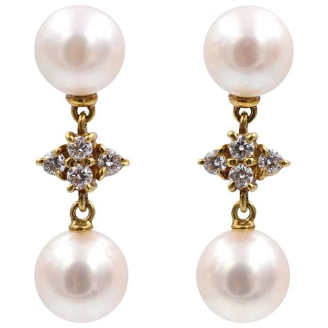 mikimoto pearl and drop earrings for sale at 1stdibs