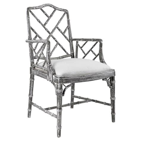 hollywood regency chair landis hollywood regency washed grey bamboo arm chair