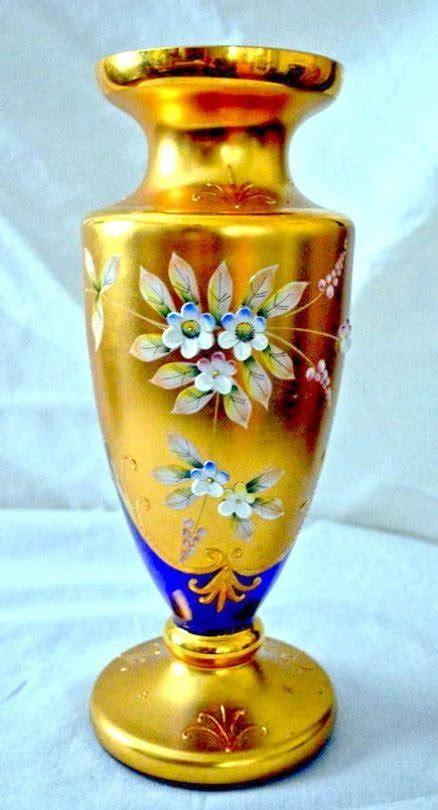 murano venetian vase  gold enamel flowers cobalt blue