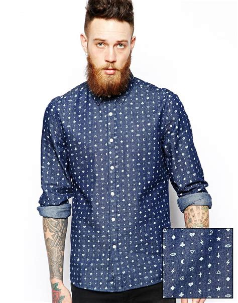 Baju Blouse Blus Denim Printing lyst asos denim shirt in sleeve with icon print in blue for