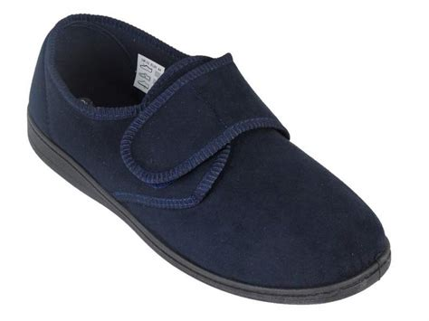 mens slippers wide fit mens velcro slippers wide fit navy