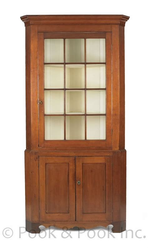 Cabinet M A by Pennsylvania Federal Cherry Two Part Corner Cupboard