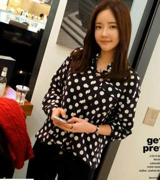Kemeja Sifon kemeja sifon wanita korea polkadot model terbaru jual