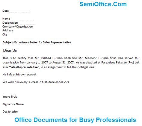 experience certificate format resume sles experience letter for sales representative