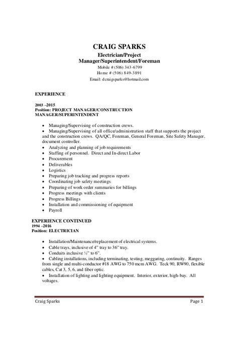 Resume Exle Of Electrician cover letter electrician supervisor 28 images