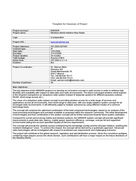 project summary template 2 free templates in pdf word