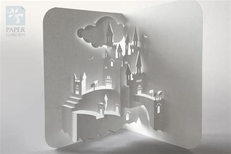 pop up card hill with templates papercut template pop up card castle instant svg