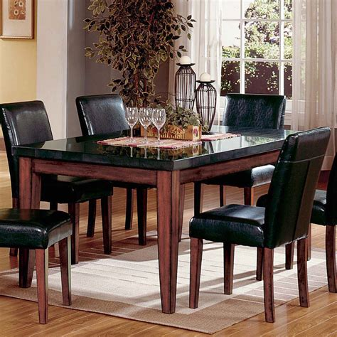 granite top dining table set steve silver montibello granite top rectangular table