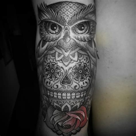 owl and sugar skull tattoo 58 best skull owl tattoos collection