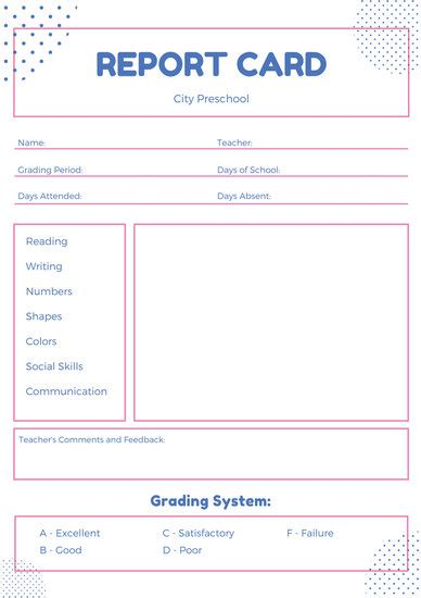 toddler report card template beautiful preschool report card templates photos resume