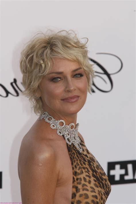 quirky haircuts for curly hair sharon stone short haircut photos