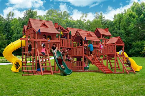 huge swing sets pangaea wooden swingset at playnation of georgia
