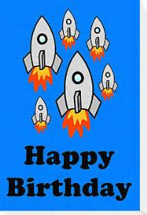 exodus by rocket ships happy birthday greeting card by