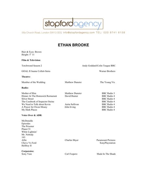 Cv Template Uk 15 Year Ethan Stopford Agency