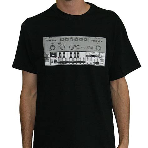 roland roland tb303 t shirt black with silver print