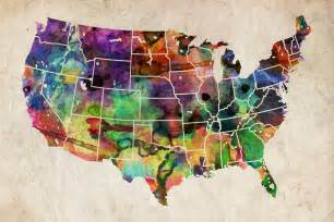 usa watercolor map by michael tompsett