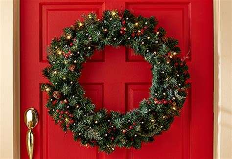 cordless pre lit indoor outdoor wreath sharper image