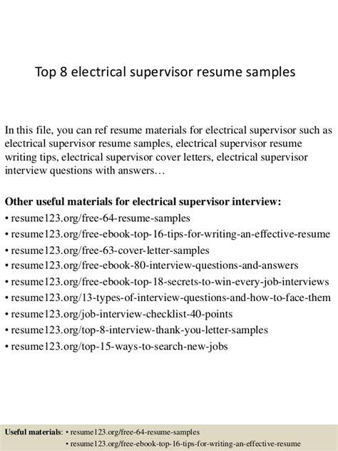 Biodata Format For Electrical Supervisor | top 8 electrical supervisor resume sles