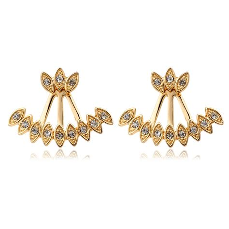 new pattern gold earrings new double sided 18k white gold plated peacock pattern