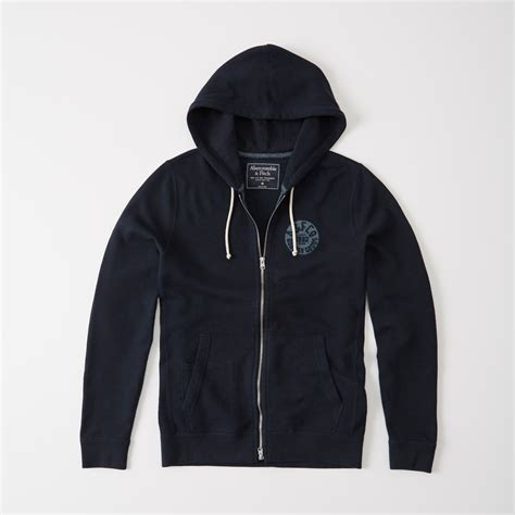 Hoodie Zipper Theater Logo Navy Xxxv Cloth abercrombie fitch logo fleece zip hoodie in blue for save 61 lyst