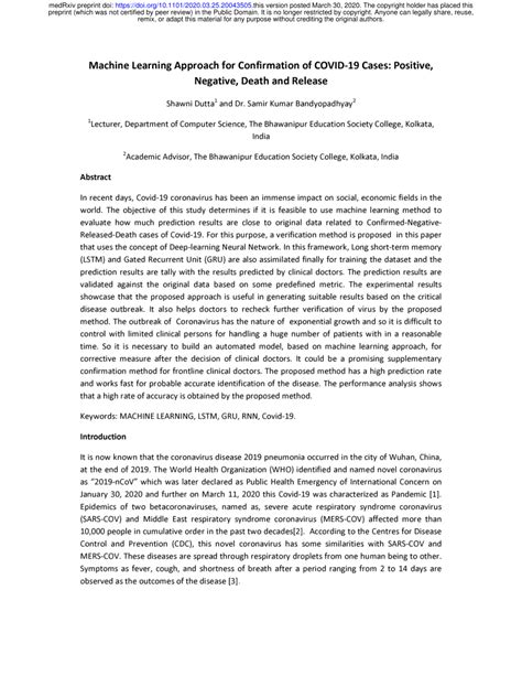 (PDF) Machine Learning Approach for Confirmation of COVID