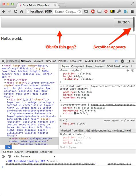 primefaces layout unit header css primefaces layoutunit padding and scrolling