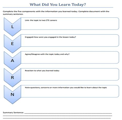 What I Did At School Today Template what did you learn today statewide