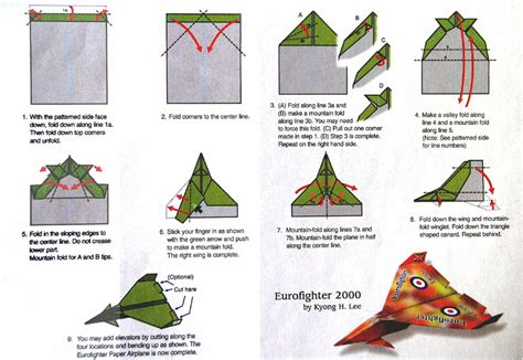 Paper Plane Folding - eurofighter paper airplane and