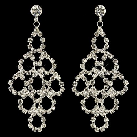 Rhinestone Earrings | silver clear rhinestone chandelier earrings 3832