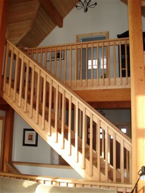 premade banister interior finishes tamlin homes timber frame home packages