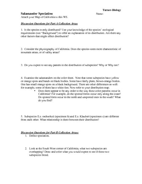 Selection And Speciation Worksheet Answers by Speciation Worksheet Lesupercoin Printables Worksheets