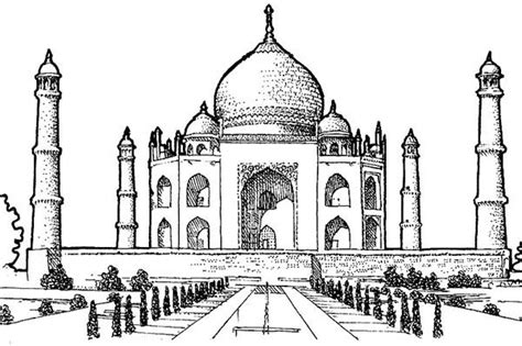 Picture Of Taj Mahal Southern View Coloring Page Netart Taj Mahal Coloring Page