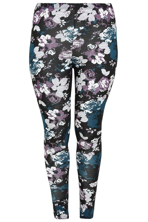 teal patterned leggings purple and teal floral print leggings plus size 16 to 32