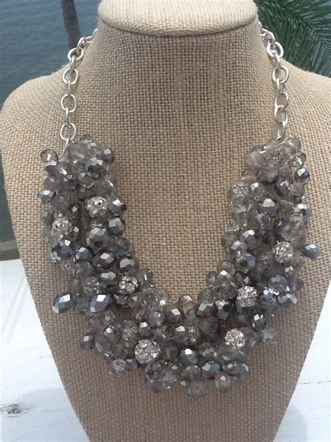 chunky silver and gray sparkle statement necklace bridal