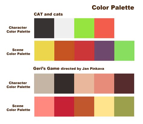 color palete of character design gibbibbubub