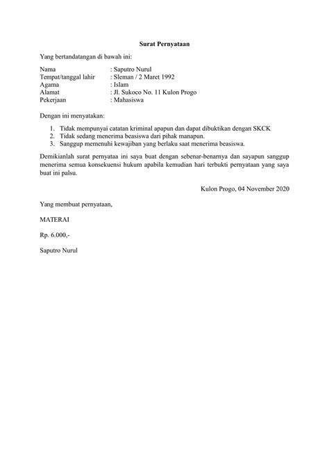 Contoh Surat Pernyataan Kerja by Contoh Surat Pernyataan
