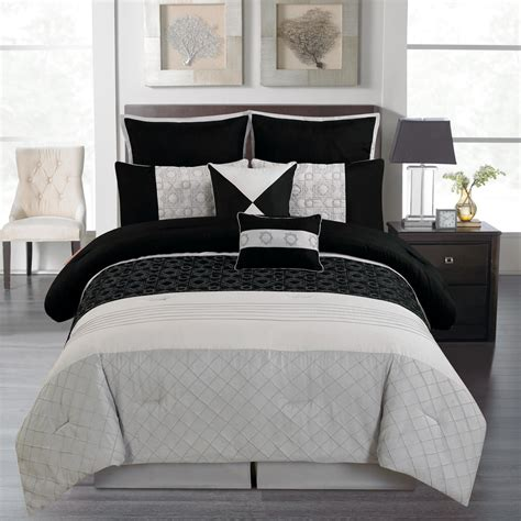 dark comforter bedroom black and gray comforter with sham on grey bed