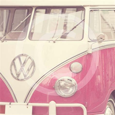 van volkswagen pink pink volkswagon van retro vintage fine art by pixabelle on