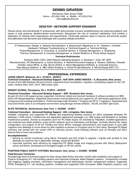 resume format for desktop support engineer resume ideas