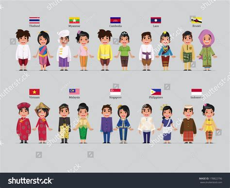 national costumes of asean member states asean boys girls traditional costume flag stock vector