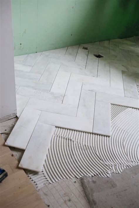 Try This: Herringbone Marble Tile   A Beautiful Mess