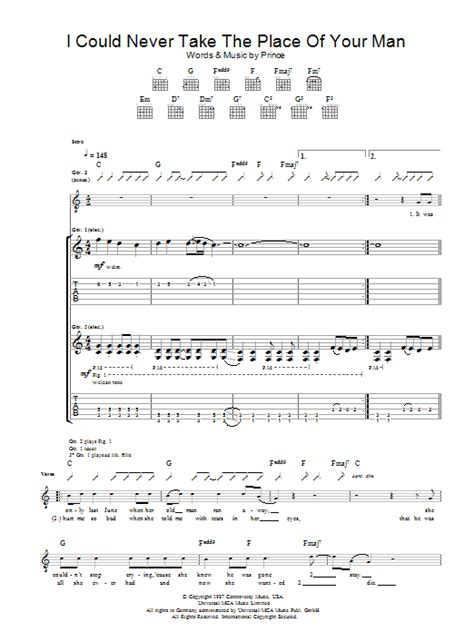 The Place Guitar Tab I Could Never Take The Place Of Your By Prince Guitar Tab Guitar Instructor
